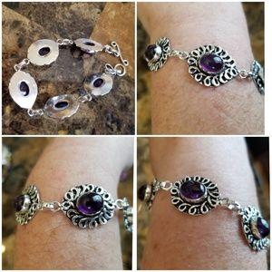 "Jewelry - Beautiful Amethyst Cabochon Bracelet 7.5""-8.5"""
